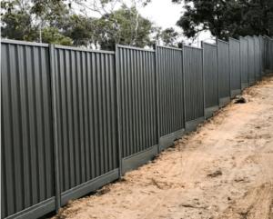 steel fence in dirt